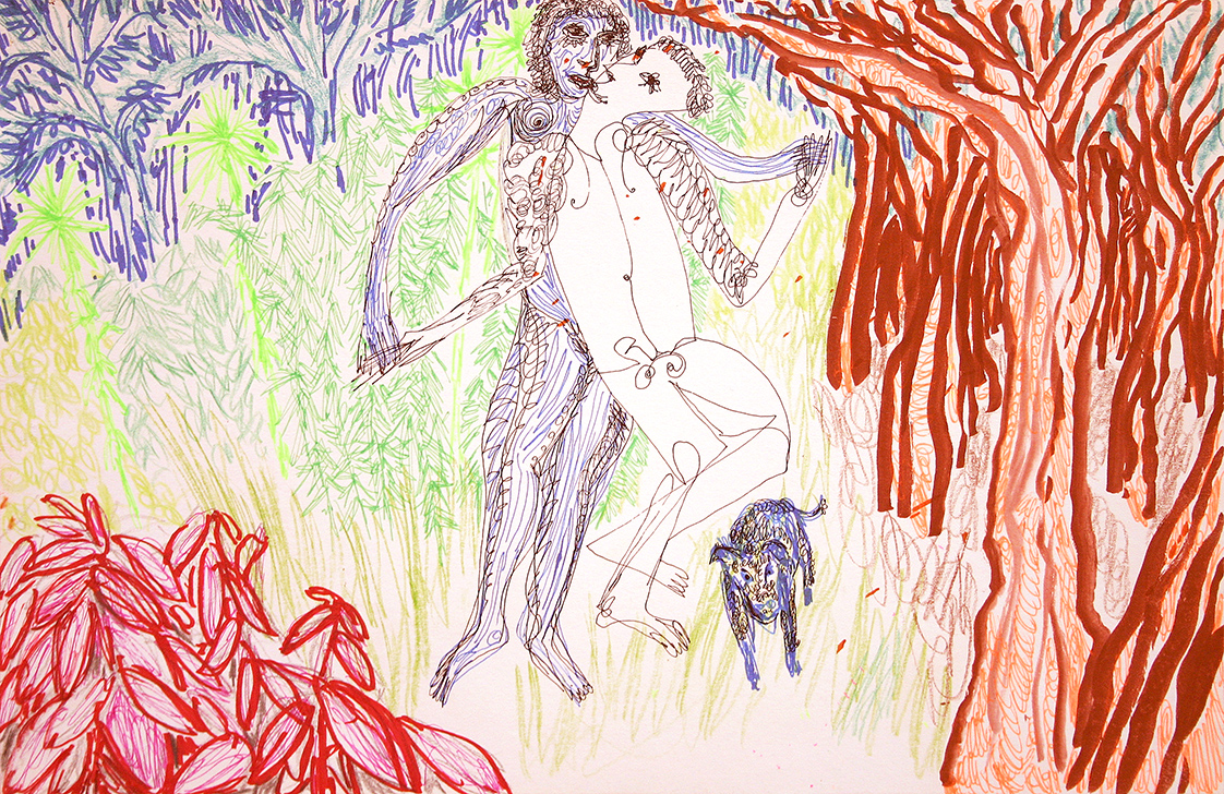 adam and eve and their doggie smooch in paradise (drawing by Frank Waaldijk)