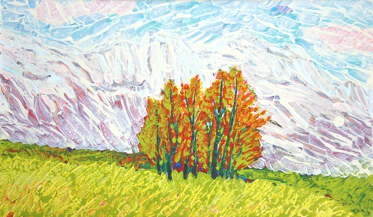 trees, mountains (2007, painting by frank waaldijk)