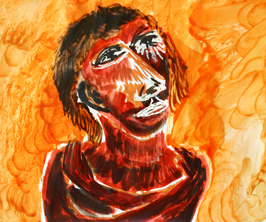 man lost in thoughts and orange background (drawing by Franka Waaldijk)