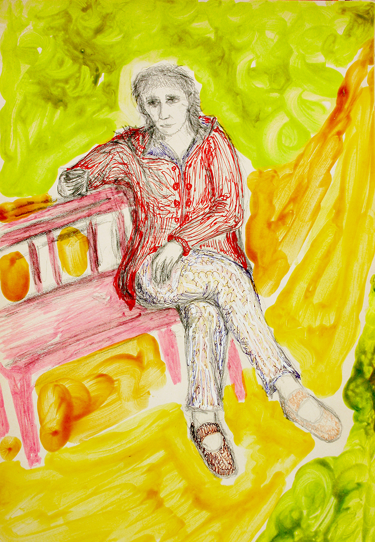 woman in park (drawing by Franka Waaldijk)