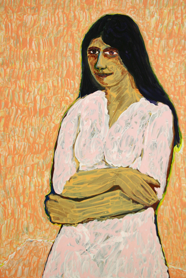 young woman in pink dress (2012, painting by frank waaldijk)